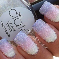 Stunning Tricolour ombre lilac, pink and white nail art using Ciaté caviar pearls. So Nails, Fancy Nails, How To Do Nails, Cute Nails, Pretty Nails, Fabulous Nails, Perfect Nails, Gorgeous Nails, Caviar Nails