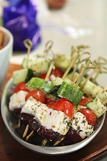 Greek Salad on a Stick #healthy #lowcarb #appetizer