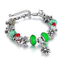 2015 Christmas Bracelet European Charms Jewelry 925 Silver Glass Beads Fit Pandora Bracelet For Women AA73