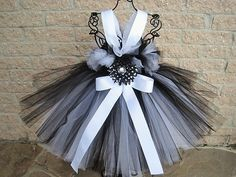 BLACK AND  WHITE  Tutu Dress  Flower Girl Gown  by ElsaSieron