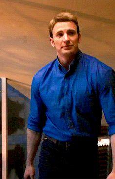 the blue shirt looks good on Chris Evans