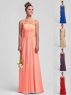 Floor-length Chiffon Bridesmaid Dress - Watermelon / Royal Blue / Ruby / Champagne / Grape Plus Sizes / Petite Sheath/Column Halter - GBP £52.49