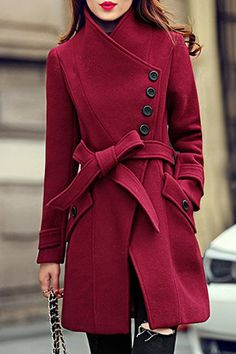 Elegant Stand Collar Candy Red Color Belt Design Long Sleeve Winter Coat Fashion For Women Fashion Mode, Look Fashion, Winter Fashion, Womens Fashion, Fashion Trends, Fashion Black, Feminine Fashion, Fashion Stores, Aesthetic Fashion