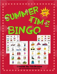 Colorful, ready-to-go Summer Time Bingo Game. 30 Bingo cards and the calling cards are all included.