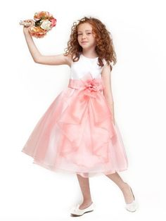 Girls KID Collection Layered Organza Ruffle Skirt Holiday Christmas Party Flower Girl Dress Coral 4 * Check this awesome product by going to the link at the image.