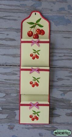 Vintage 50s 60s Retro Yellow Cherry Letter Holder