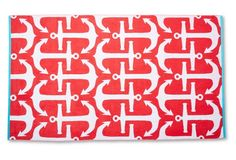 Anchors Beach Towel, Cayenne/Turquoise