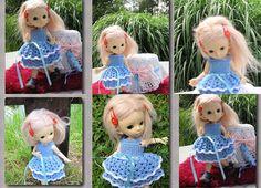 Crocheted dress on a doll Fairyland pukifee Luna bjd free Fairy Land, Bjd, Gown, Teddy Bear, Dolls, Christmas Ornaments, Holiday Decor, Crochet, Skirts