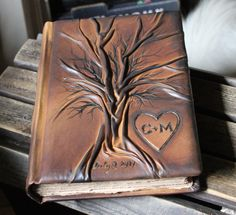 Custom leather wedding guest book Tree of life Bridal Shower Anniversary Engagement with heart and initials from crearting on Etsy.