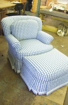 really sweet cottage chair and ottoman in blue gingham