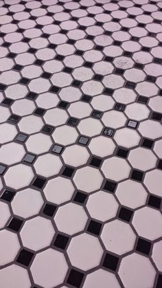 Bathroom Floor Daltile Octagon Amp Dot Mosaic W Black Dot