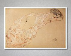 Reclining Woman by Gustav Klimt  Poster Paper Sticker by WallsNeed