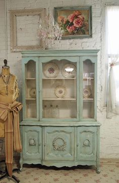 Painted French provincial china cabinet ~ PaintedCottages on Etsy