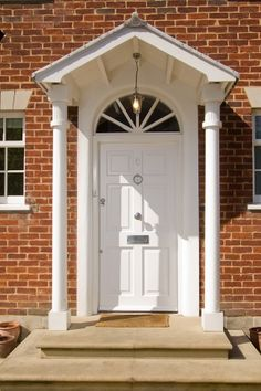 White Georgian door with classic open porch. A bright white lets the entrance stand out from the brickwork - Cottswood Doors Georgian Doors, Apartment Living, Living Room, Wooden Front Doors, External Doors, Contemporary Doors, Sash Windows, Brickwork, Front Porch