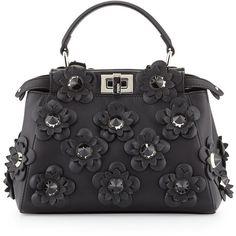 Fendi Peekaboo Mini Allover Flowers Satchel Bag (€5.020) ❤ liked on Polyvore featuring bags, handbags, black, fendi handbags, miniature purse, flower purse, mini satchel and mini satchel handbags