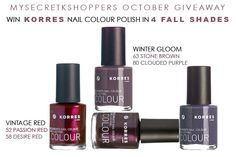 MYSECRETKSHOPPERS OCTOBER FACEBOOK GIVEAWAY 4 KORRES NAIL COLOUR POLISHES NEW FALL SHADES