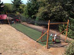 Baseball Hitting Drills, Softball Pitching, Softball Coach, Batting Cage Backyard, Backyard Movie Screen, Backyard Baseball, Batting Tee, Backyard Games, Backyard Projects