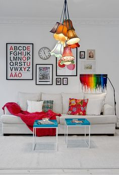 Adore the saloon light pendant! Splashes of colour...and IKEA!