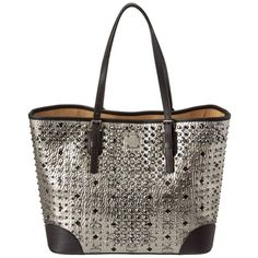 Mcm Mcm Diamond Visetos Medium Shopper Tote (399711701) ($1,840) ❤ liked on Polyvore featuring bags, handbags, tote bags, silver, hand bags, studded tote, white handbags, purse tote and mcm handbags