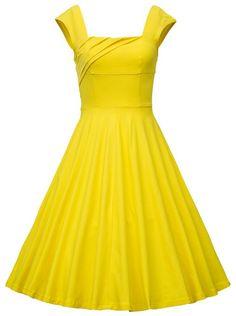 MUXXN Donna vintage anni '50 Gonna a Ruota da Cerimonia a Scollo Quadrato Maniche ad Aletta: Amazon.it: Abbigliamento