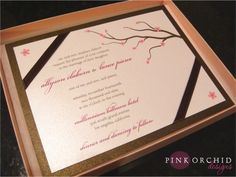 Cherry blossom boxed wedding invitations - on Pink Orchid Weddings
