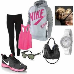 #workout #outfit #PINK #GREY #feelgood #dogood #fitness #nike #healthy #strongisthenewsexy #womens #clothing #fallfashiont