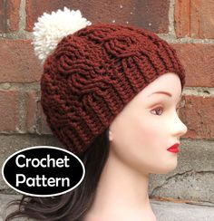 CROCHET HAT PATTERN Instant Download - Aubrey Cabled Beanie Hat Womens Fall Winter - Permission to Sell by AlyseCrochet on Etsy https://www.etsy.com/listing/186400947/crochet-hat-pattern-instant-download