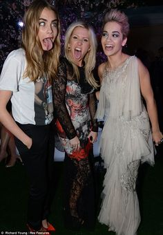 Good friends: Rita Ora giggled as Cara Delevingne and Ellie Goulding pulled a number of funny faces