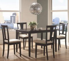 5pc Casual Dining Table and Chairs Set in Black Finish $252.80