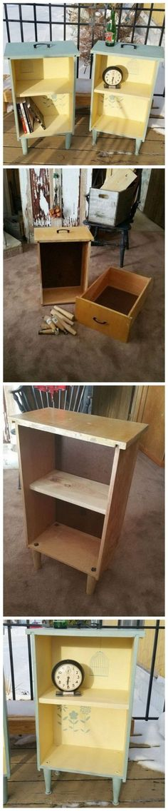 Creative and Easy DIY Furniture Hacks Upcycled Drawers to Side Tables: Get some old drawers and turned them into bright side tables. Diy Furniture Hacks, Old Furniture, Refurbished Furniture, Repurposed Furniture, Furniture Projects, Furniture Makeover, Diy Projects, Project Ideas, Furniture Outlet