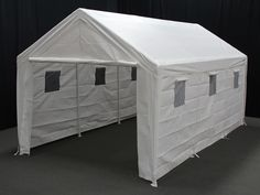 Hercules 10 X 20 Portable Garage Canopy With Sidewalls And Plastic Windows