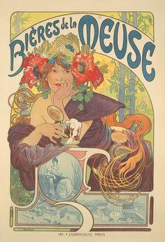 Alphonse Mucha, Bières de la Meuse. 1897.