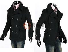 男装英伦风格双排扣立领大衣(型号:EZ-982)--黑色XL码  USD $12.99