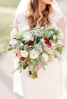 Greensboro NC Wedding Planner Greenery White Cream Red Bouquet Winter Tanglewood Church And