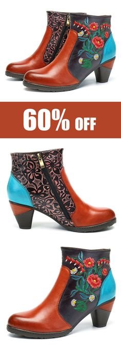 SOCOFY Women Retro Splicing Handmade Embroidery Ankle Leather Boots. #boots #shoes #womensfashion