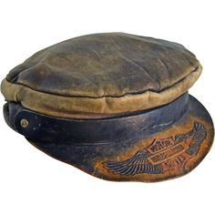 Vintage Harley Davidson Motorcycle Embossed Leather Cap Hat Circa 1910