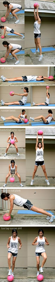 Medicine ball interval workout: Burpees, Sit 'n Reach, Russian Twist, Basketball Jump Squats, Medicine Ball Plank, & Toe Tap Soccer Drill.
