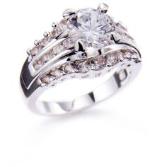 New Directions  Silver-Tone Princess Cut Cubic Zirconia Engagement... (€11) ❤ liked on Polyvore featuring jewelry, rings, cz rings, princess cut engagement rings, engagement rings, princess cut cubic zirconia rings and cubic zirconia engagement rings