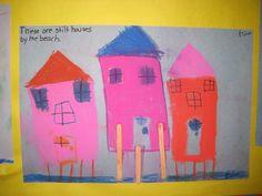 Pastel houses on stilts craft in Kindergarten.