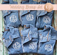 Monogram Denim Shirt | Bridesmaid Button Up | Monogrammed Shirt | Monogram Button Down | Bride Shirt | Bridal Party | Wedding Denim Shirt by CPMONOGRAMMING on Etsy https://www.etsy.com/listing/541920759/monogram-denim-shirt-bridesmaid-button