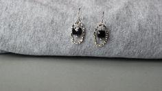 Black Onyx Gemstones in Sterling Silver Oval Hoops Earrings