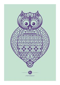 Inca Owl - new color! Poster drawing by me!