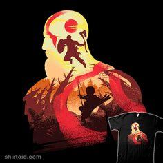 Father and Son   Shirtoid #atreus #chrisdalida #gaming #godofwar #kratos #silhouette #videogame