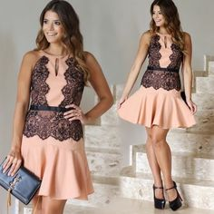 Beautiful Peachy black lace dress RESTOCKING SOON✨ Leave a comment to be notified when they arrive ✨ Dresses