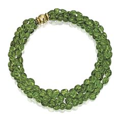 18 KARAT GOLD AND PERIDOT BEAD NECKLACE, DAVID WEBB The five-strand graduated necklace composed of peridot beads, length 19 inches, signed W...