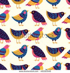Seamless pattern with birds. Freehand drawing
