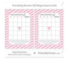 Free Pastel Light Pink Diagonal Striped Baby Shower Gift Bingo