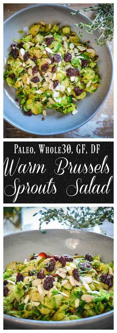 This is a speedy and filling salad that's going to satisfy your tastebuds in every way. It's crunchy, creamy, sweet and salty. This Brussels sprouts salad is simple to make with bacon, cherries or cranberries, shallot and sliced almonds. #paleo, #whole30, #glutenfree, #dairyfree, #salad, #lunch, #whole30lunch, #paleosalad, #whole30salad, #brusselssprouts
