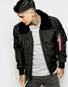Man with fur collar Military Style T Shirts, Alpha Industries Bomberjacke, Bomber  Jacket Outfit 8f0fbf9fb191