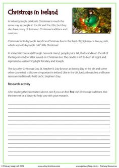 PrimaryLeap.co.uk - Research Activity - Christmas in Ireland Worksheet